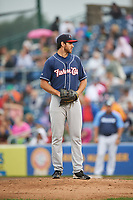 New Hampshire Fisher Cats starting pitcher Jordan Romano (21) gets ready to deliver a pitch during a game against the Trenton Thunder on August 19, 2018 at ARM & HAMMER Park in Trenton, New Jersey.  New Hampshire defeated Trenton 12-1.  (Mike Janes/Four Seam Images)