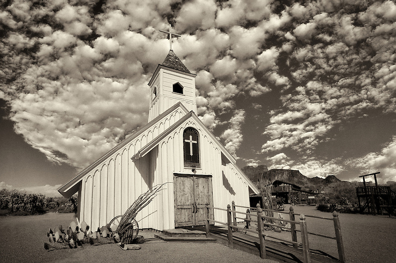Old West Church in Sperstion Mountains, Arizona