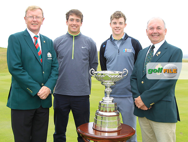 Dan O'Donavan (Captain LaHinch Golf Club), Colin Fairweather (Knock), Stuart Grehan (Tullamore) and Michael Connaughton (GUI President) before the Final Round of the South of Ireland Amateur Open Championship at LaHinch Golf Club on Sunday 26th July 2015.<br /> Picture:  Golffile | Thos Caffrey