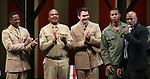 """Kenny Leon, Blair Underwood, David Alan Grier and Jerry O'Connell During the Broadway Opening Night Curtain Call Bows for The Roundabout Theatre Company's """"A Soldier's Play""""  at the American Airlines Theatre on January 21, 2020 in New York City."""