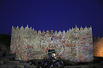 Israel, Jerusalem, Damascus Gate at the Light in Jerusalem festival