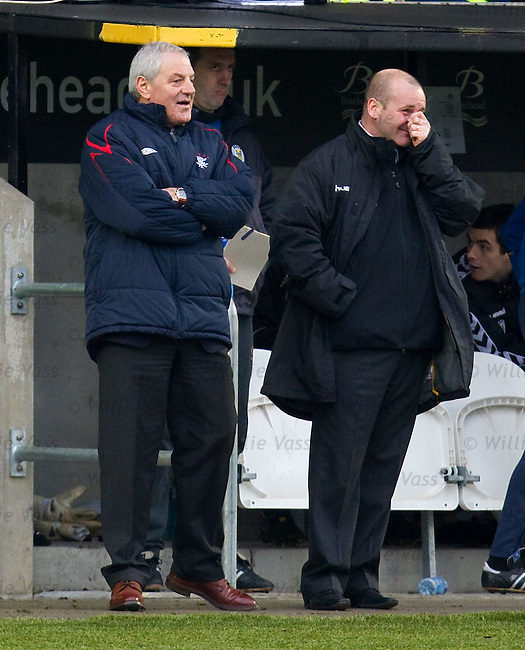 Walter Smith and Gus MacPherson share a joke together
