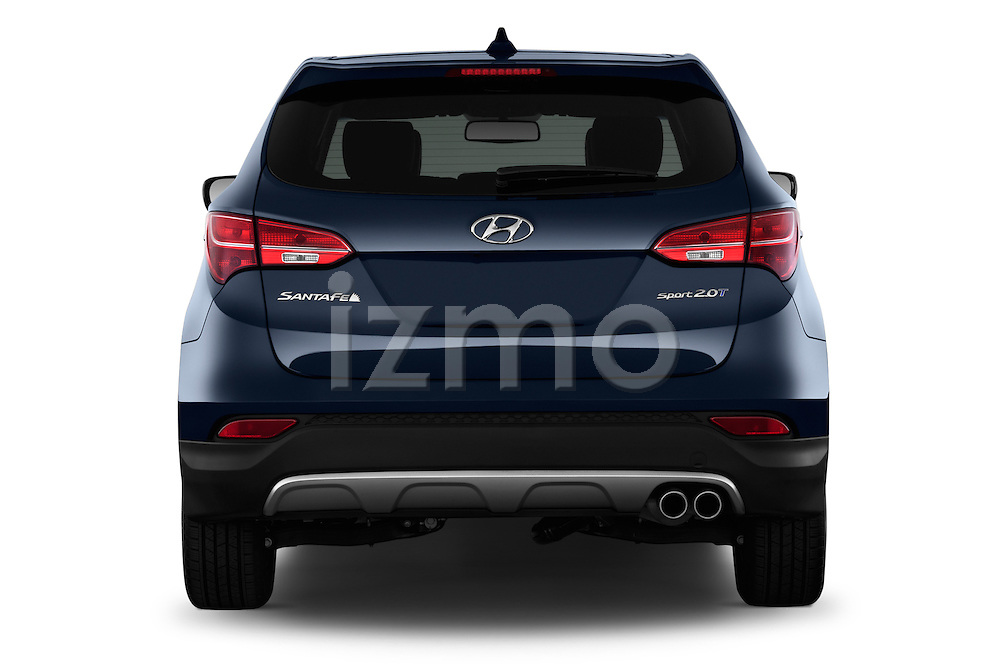 Straight rear view of a 2013 Hyundai Santa Fe Sport