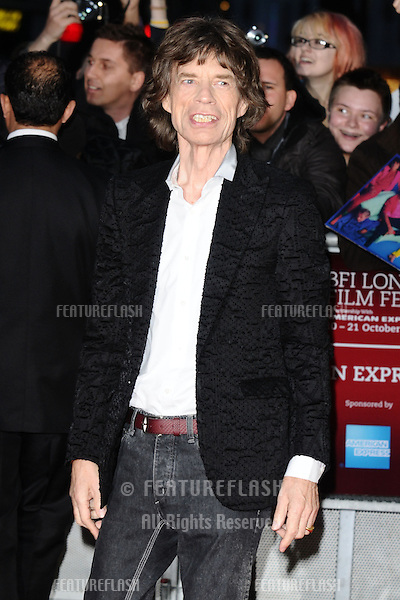"Mick Jagger at the premiere for ""Crossfire Hurricane"" being shown as part of the London Film Festival 2012, Odeon Leicester Square, London 18/10/2012 Picture by: Steve Vas / Featureflash"