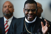 Washington, DC - January 9, 2017: Bishop Harry Jackson, senior pastor of Hope Christian Church in the District of Columbia, speaks in support of Senator Jeff Sessions' confirmation as Attorney General during a news conference at the Cannon House Office Building in the District of Columbia, January 9, 2017. Sen. Sessions was nominated as U.S. Attorney General by President-elect Donald Trump.  (Photo by Don Baxter/Media Images International)