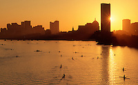 Charles River sunrise rowing, Boston, MA skyline