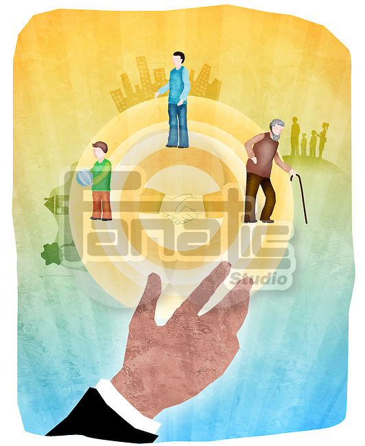 Insurance cover hand reaching for human life cycle