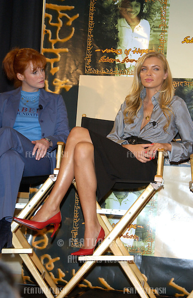 TRACY GRIFFITH (left) & supermodel ESTHER CANADAS at press conference, in Beverly Hills, to launch the U.S. branch of the Sabera Foundation - a non-profit organization committed to changing the lives of street children in India. .For further info. check www.saberafoundation.org..10OCT2002..© Paul Smith / Featureflash