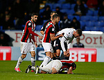 Jake Wright of Sheffield Utd  takes care of Gary Madine of Bolton Wanderers during the Championship match at the Macron Stadium, Bolton. Picture date 12th September 2017. Picture credit should read: Simon Bellis/Sportimage