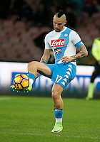Marek Hamsik  during the  italian serie a soccer match,between SSC Napoli and Atalanta      at  the San  Paolo   stadium in Naples  Italy , February 25, 2017