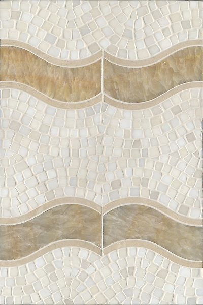 Danube, a handmade mosaic shown in Danube in honed Saint Richard, Honey Onyx, and tumbled Cloud Nine, is part of the Silk Road collection by Sara Baldwin for New Ravenna.
