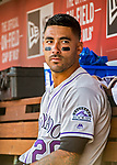 14 April 2018: Colorado Rockies first baseman Ian Desmond sits in the dugout prior to a game against the Washington Nationals at Nationals Park in Washington, DC. The Nationals rallied to defeat the Rockies 6-2 in the 3rd game of their 4-game series. Mandatory Credit: Ed Wolfstein Photo *** RAW (NEF) Image File Available ***