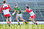 Conor Cox Kerry in action against Declan Brown Derry in round Two of the National Football league at Fitzgerald Stadium, Killarney on Sunday the 9th of February.