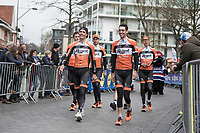 Team Roompot (NL) waking to the team presentation<br /> <br /> 105th Scheldeprijs 2017 (1.HC)<br /> 1day race: Mol &gt; Schoten 200km