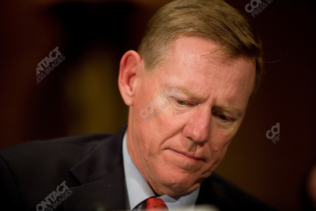 Alan Mulally the CEO of Ford..Senate Banking Committee (Chris Dodd, Chm) has hearings about 'bailout' money for the big 3 U S Automakers:  Ford (Alan Mulally), Chrysler (Bob Nardelli) and General Motors (Ric Wagoner). November 18, 2008, Arlington, VA.