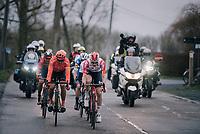 Tim Wellens (BEL/Lotto-Soudal) & Greg VAN AVERMAET (BEL/CCC) taking a turn in the front group in the finale<br /> <br /> 74th Omloop Het Nieuwsblad 2019 <br /> Gent to Ninove (BEL): 200km<br /> <br /> ©kramon