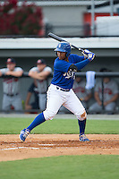 Meibrys Viloria (4) of the Burlington Royals at bat against the Danville Braves at Burlington Athletic Park on July 12, 2015 in Burlington, North Carolina.  The Royals defeated the Braves 9-3. (Brian Westerholt/Four Seam Images)
