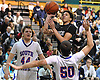 Yasir Lawrence #1 of Elmont, back right, tries to drive to the hoop but gets called for a charge on Matthew Boranian #50 of South Side during the Nassau County varsity boys basketball Class A final at LIU Post on Saturday, Feb. 27, 2016. Elmont won 55-51 in double overtime.