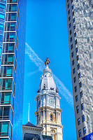 City Hall Tower, Philadelphia PA, Pennsylvania, City, United States,