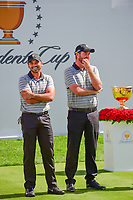 Jason Day (AUS) and Marc Leishman (AUS) crack up at the International Team crowd's songs during round 2 Four-Ball of the 2017 President's Cup, Liberty National Golf Club, Jersey City, New Jersey, USA. 9/29/2017.<br /> Picture: Golffile | Ken Murray<br /> <br /> All photo usage must carry mandatory copyright credit (&copy; Golffile | Ken Murray)