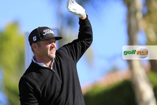 Jason Bohn (USA) tees off the 2nd tee during Saturday's Round 3 of the 2017 CareerBuilder Challenge held at PGA West, La Quinta, Palm Springs, California, USA.<br /> 21st January 2017.<br /> Picture: Eoin Clarke | Golffile<br /> <br /> <br /> All photos usage must carry mandatory copyright credit (&copy; Golffile | Eoin Clarke)