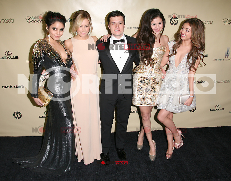 BEVERLY HILLS, CA - JANUARY 13: Vanessa Hudgens, Ashley Tisdale, Selena Gomez and Sarah Hyland at the The Weinstein Company 2013 Golden Globes After Party at the Beverly Hilton Hotel in Beverly Hills, California on January 13, 2013. Credit: mpi20/MediaPunch Inc.