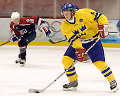 (Brandon Dubinsky) Anton Stralman (Timra IK - Toronto Maple Leafs)  The US Blue team lost to Sweden 3-2 in a shootout as part of the 2005 Summer Hockey Challenge at the National Junior (U-20) Evaluation Camp in the 1980 rink at Lake Placid, NY on Saturday, August 13, 2005.