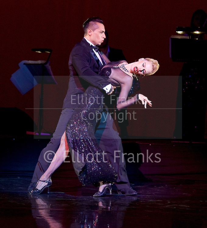 Tango Fire <br /> at The Peacock Theatre, London, Great Britain <br /> press photocall <br /> 30th January 2017 <br /> <br /> German Cornejo's Tango Fire<br /> <br /> <br /> <br /> <br /> Gallo Ciego <br /> <br /> Marcos Esteban Roberts &amp; Louise Junqueira Malucelli <br /> <br /> --------------<br /> <br /> <br /> <br /> <br /> Photograph by Elliott Franks <br /> Image licensed to Elliott Franks Photography Services