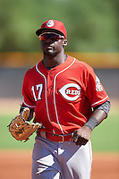 Cincinnati Reds Taylor Trammel (17) during an Instructional League game against the Texas Rangers on October 4, 2016 at the Surprise Stadium Complex in Surprise, Arizona.  (Mike Janes/Four Seam Images)