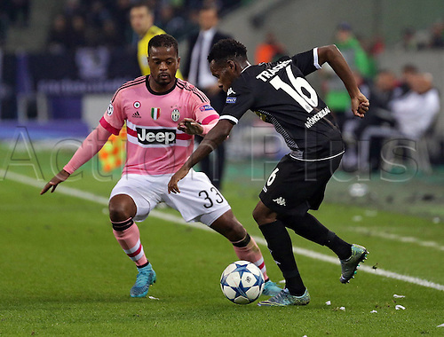 03.11.2015. Moenchengladbach, Germany, UEFA Champions League football group stages. Borussia Moenchangladbach versus Juventus. Patrice Evra Juventus Turin Ibrahima Traore Borussia Moenchengladbach