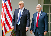 "United States President Donald J. Trump and US Vice President Mike Pence arrive for a ceremony where the President will sign a Proclamation designating May 4, 2017 as a National Day of Prayer and an Executive Order ""Promoting Free Speech and Religious Liberty"" in the Rose Garden of the White House in Washington, DC on Thursday, May 4, 2017. Photo Credit: Ron Sachs/CNP/AdMedia"