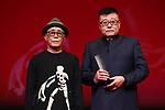 """Ryuichi Hiroki, Wang Rui, November 05, 2019 - Wang Rui, speak after winning """"Award for Best Artistic Conrtribution"""" for the film """"Chaogtu with Sarula""""during the 32nd Tokyo International Film Festival, award ceremony, in Tokyo, Japan on November 05, 2019. (Photo by 2019 TIFF/AFLO)"""