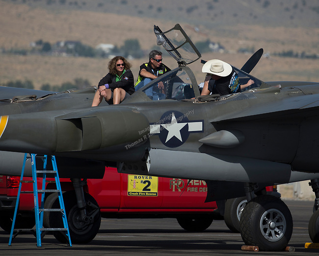 A photograph taken during the National Championship Air Races in Reno, Nevada on Sunday, Sept. 17, 2017.
