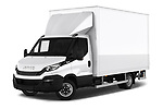 Stock pictures of low aggressive front three quarter view of 2018 Iveco Daily - 4 Door Cargo Van Low Aggressive