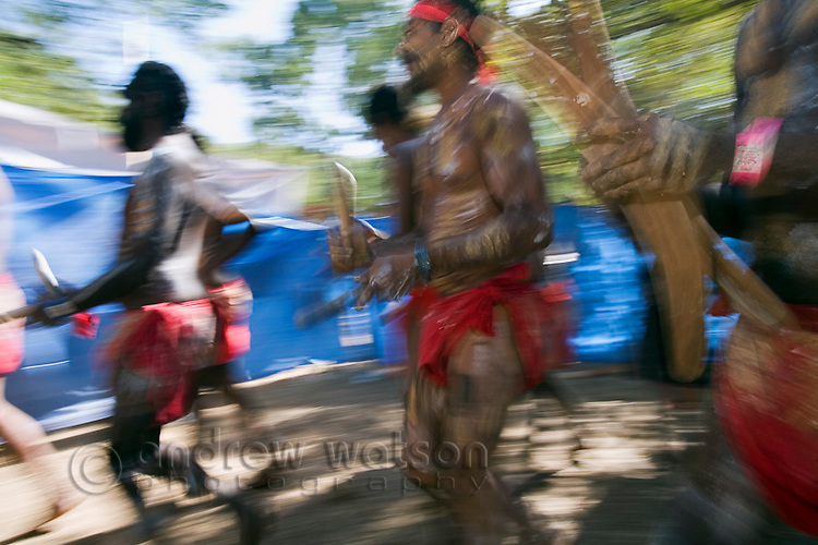Indigenouse dance troupe at the Laura Aboriginal Dance Festival.  Laura, Queensland, Australia