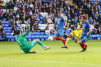 GOAL - Wes Thomas of Oxford United (2nd right) scores his team's second goal of the game to make the score 1-2 during the Sky Bet League 1 match between Peterborough and Oxford United at the ABAX Stadium, London Road, Peterborough, England on 30 September 2017. Photo by David Horn.