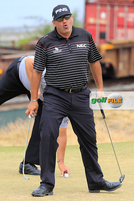 Angel Cabrera (ARG) sinks his putt on the 16th green during Thursday's Round 1 of the 2015 U.S. Open 115th National Championship held at Chambers Bay, Seattle, Washington, USA. 6/18/2015.<br /> Picture: Golffile | Eoin Clarke<br /> <br /> <br /> <br /> <br /> All photo usage must carry mandatory copyright credit (&copy; Golffile | Eoin Clarke)