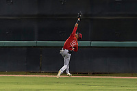 AZL Angels center fielder Jordyn Adams (21) catches a deep fly ball during an Arizona League game against the AZL Dodgers at Camelback Ranch on July 8, 2018 in Glendale, Arizona. The AZL Dodgers defeated the AZL Angels by a score of 5-3. (Zachary Lucy/Four Seam Images)