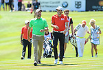 Ireland&rsquo;s Brian McFadden and Wales Gareth Bale share a joke walking up the ninth fairway<br /> <br /> Golf - Day 1 - Celebrity Cup - Saturday 4th July 2015 - Celtic Manor Resort  - Newport<br /> <br /> &copy; www.sportingwales.com- PLEASE CREDIT IAN COOK