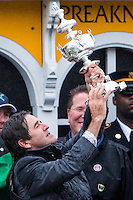 BALTIMORE, MD - MAY 21: Exaggerator trainer Keith Desormeaux holds up the trophy after winning the the 141st running of the Preakness Stakes at Pimlico Race Course on May 21, 2016 in Baltimore, Maryland. (Photo by Sue Kawczynski/Eclipse Sportswire/Getty Images)