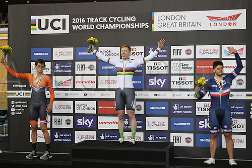 03.03.30216. Lee Valley Velo Centre, London England. UCI Track Cycling World Championships.  Podium - joachim Eilers (ger) gold,<br /> theo boss (ned)silver<br /> quentin lafargue (fra) bronze on podium at the Kilo TT racing.