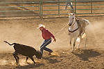 Minden Ranch Rodeo at the Douglas County Fairgrounds, Gardnerville, Nevada...A working rodeo with real cowboys and real-life ranch event competitions-calf roping.