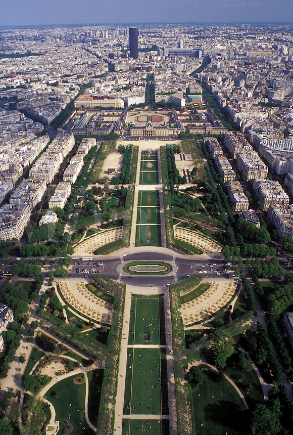 Paris, Ile de France, France, Europe, Aerial view of Parc du Champ de Mars in the city of Paris looking Southeast from the Eiffel Tower.
