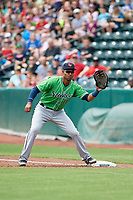 Gwinnett Stripers first baseman Carlos Franco (11) stretches to receive a throw during a game against the Columbus Clippers on May 17, 2018 at Huntington Park in Columbus, Ohio.  Gwinnett defeated Columbus 6-0.  (Mike Janes/Four Seam Images)