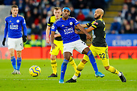 11th January 2020; King Power Stadium, Leicester, Midlands, England; English Premier League Football, Leicester City versus Southampton; Nathan Redmond of Southampton shoves Ricardo Pereira of Leicester City off the ball - Strictly Editorial Use Only. No use with unauthorized audio, video, data, fixture lists, club/league logos or 'live' services. Online in-match use limited to 120 images, no video emulation. No use in betting, games or single club/league/player publications