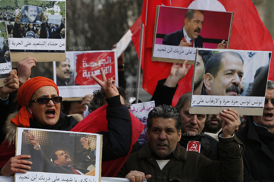 FRANCE.PARIS. 09/02/2013:  Around 400 Tunisians marched in Paris on Saturday to pay tribute to the Tunisian opposition leader, Chokri Belaid who was assassinated out of his house in Tunisia on Wednesday 6th February....
