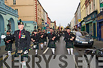 PARADE: members of ONE Tomas Ashe Kerry Branch who paraded with the Tralee Pipe Band marched to St John's Church Tralee from Denny Street, on Sunday to commarate the deceased members of the Defence Forces..................... ..........