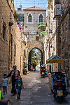 A gateway on a street in the Muslim Quarter of the Old City of Jerusalem.  The Old City of Jerusalem and its Walls is a UNESCO World Heritage Site.