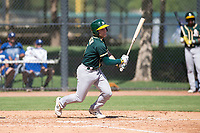 Oakland Athletics shortstop Nick Allen (1) starts down the first base line during an Instructional League game against the Los Angeles Dodgers at Camelback Ranch on October 4, 2018 in Glendale, Arizona. (Zachary Lucy/Four Seam Images)