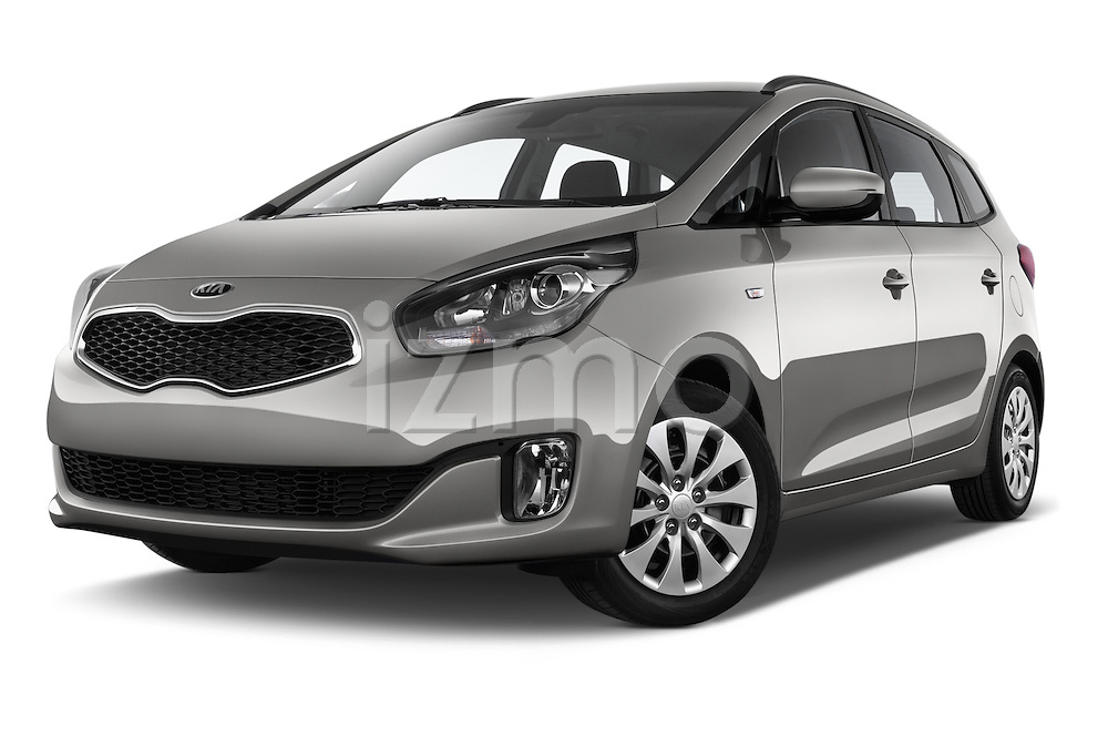 Stock pictures of low aggressive front three quarter view of a 2014 KIA CARENS Lounge 5 Door Mini MPV 2WD Low Aggressive
